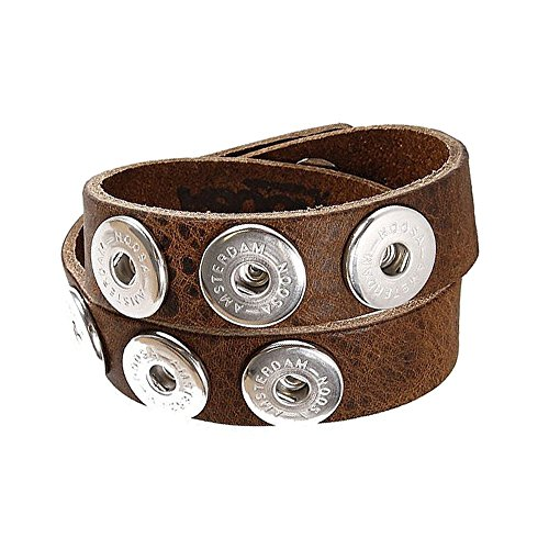 Armband double skinny mid brown ohne Chunks, Größe:M