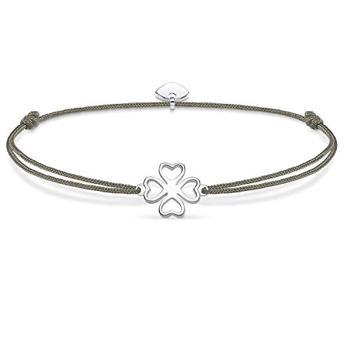 THOMAS SABO Damen Armband Little Secret Kleeblatt 925er Sterlingsilber, Nylon LS017 173 5
