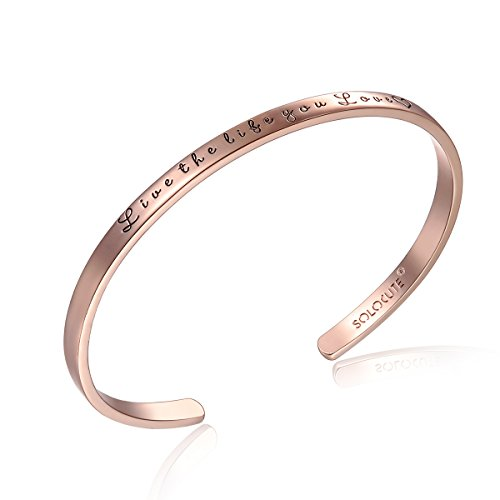Solocute Rosegold Damen Gravur Live The Life You Inspiration Frauen Armreif Schmuck