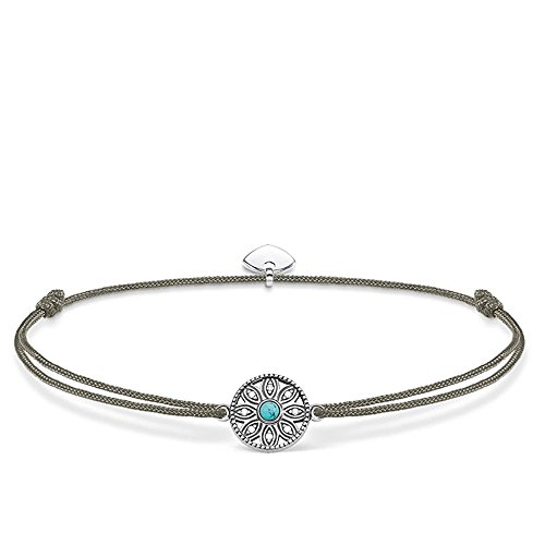 THOMAS SABO Damen Little Secret Ethno Amulett 925er Sterlingsilber, Geschwärzt, Nylon LS022 378 5