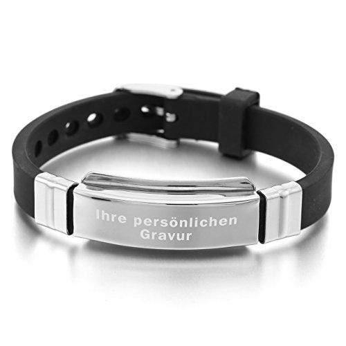 Lederarmband schwarz mit gravur  Schönes Kautschuk Armband
